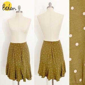 Olive Green Polka Dot Ruffle Skirt womens 6